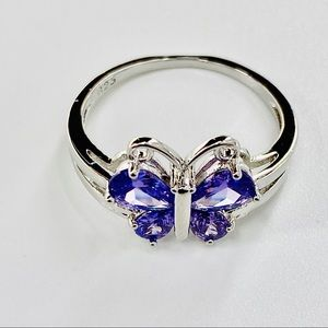 Purple Amethyst Butterfly 10K White Gold Ring Sz 7